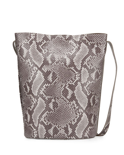 Snake-Print Tote Bucket Bag