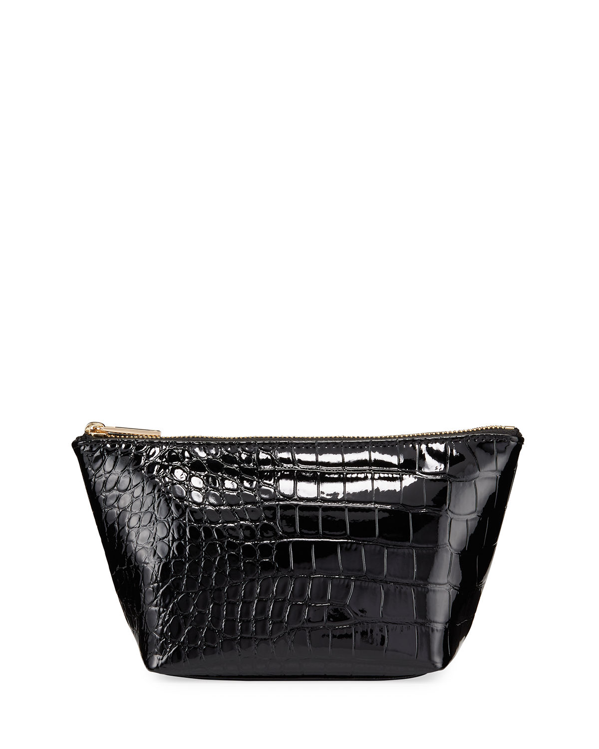 Neiman Marcus Accessories CROC-EMBOSSED COSMETIC ZIP BAG