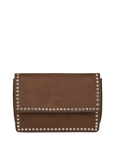 Studded Faux-Suede Crossbody Bag