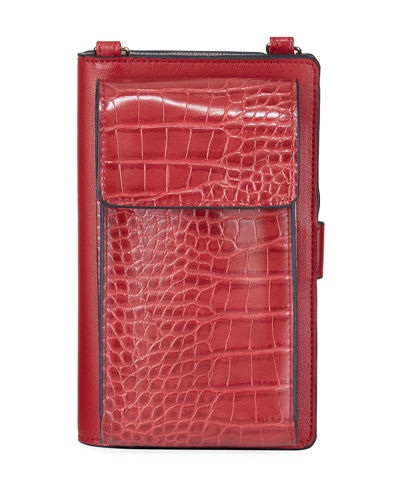 Mock-Croc Crossbody Cell Phone Wallet Bag