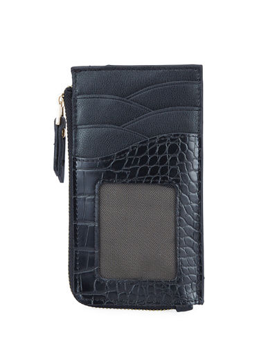 Croc-Embossed Slim Zip Wallet