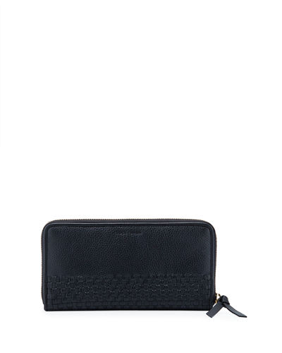 Bethany Large Woven Leather Zip Wallet