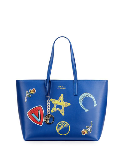 Large Logo Patches Shopper Tote Bag  Blue