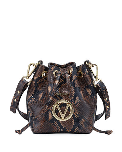 Jules Python-Print Leather Bucket Bag