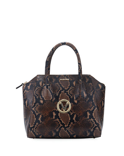 Minimi Python-Print Leather Satchel Bag