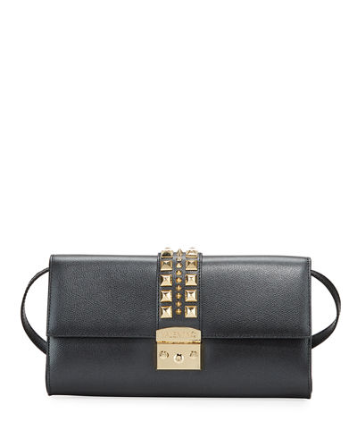 Cocotte Studded Leather Clutch Bag