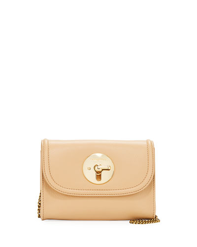 Lois Turn-Lock Leather Crossbody Bag