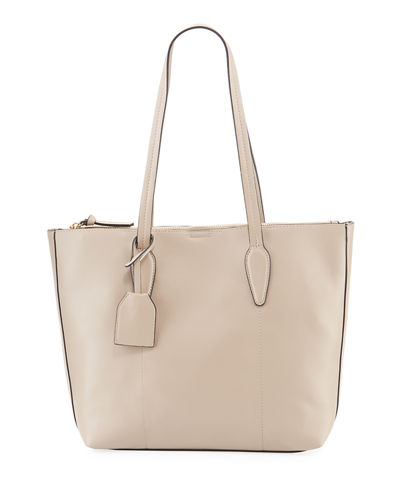 Large Faux-Leather Shopper Tote Bag