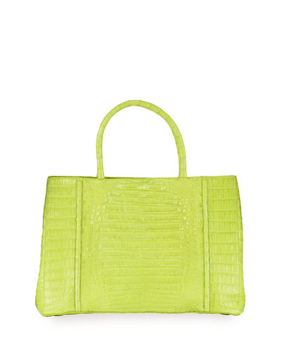 Top-Handle Crocodile Large Tote Bag
