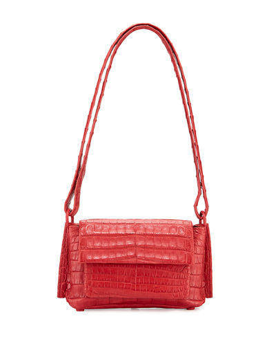 Accordion Crocodile Crossbody Bag