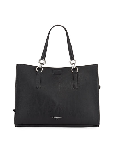 Pebbled Faux-Leather Tote Bag