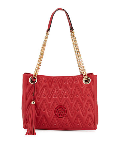 Luisa Studded Quilted Leather Shoulder Tote Bag