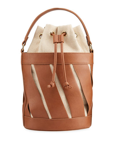 Large Cutout Drawstring Bucket Bag
