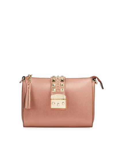 Coline Metallic Palmellato Leather Studded Crossbody Bag