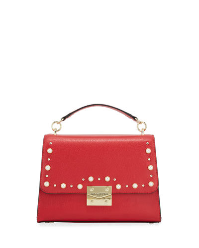 Corinne Studded Hermine Leather Shoulder Bag