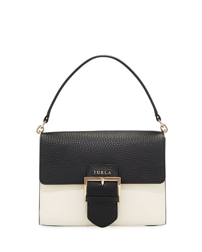 Flo M Pebbled Leather Belt Buckle Shoulder Bag