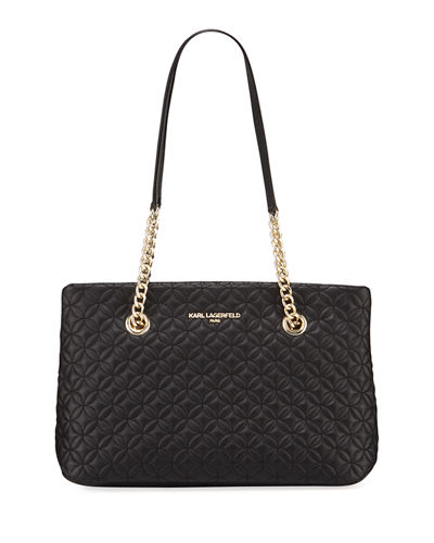 Karolina Quilted Lamb Leather Shoulder Tote Bag