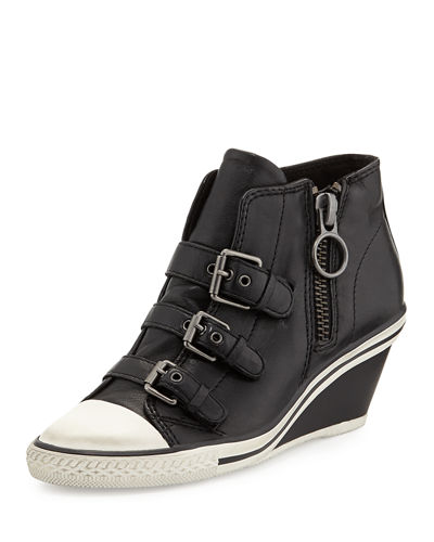 Gin Bis Buckled Leather Wedge Sneaker