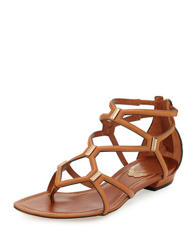 Studded Caged Leather Sandal