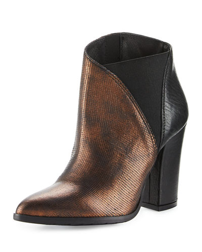Charla Asymmetric Skived Leather Bootie
