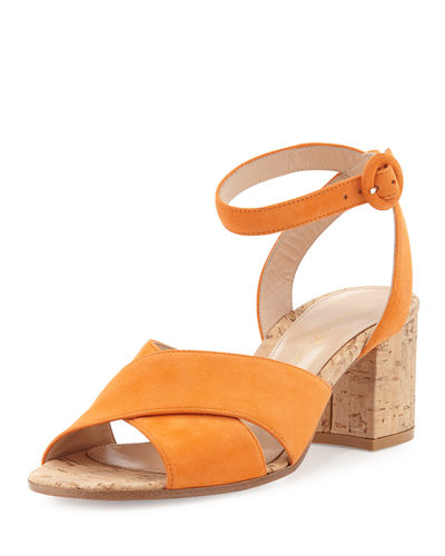 Suede Ankle-Wrap Sandal