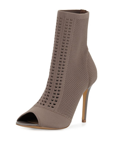 Rebellious Mesh-Knit Open-Toe Bootie