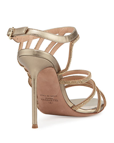 Strappy Beaded Open-Toe Sandal