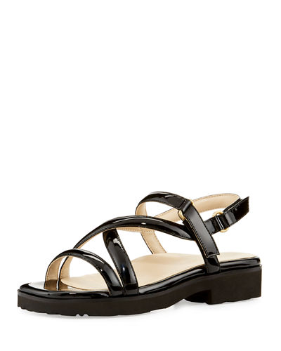 Taryn Rose Patent Leather Slide Sandals Grey outlet store online collections sale online O0xhXMy