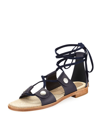 Evelyn Lace-Up Flat Leather Sandals