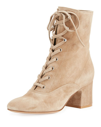 Gianvito Rossi Mackay Suede Lace-Up 60mm Bootie