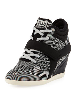 Bebop Knit Lace-Up Wedge Sneaker in Gray Pattern