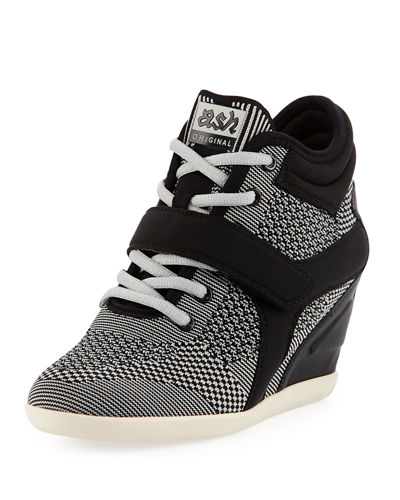 Bebop Knit Lace-Up Wedge Sneakers