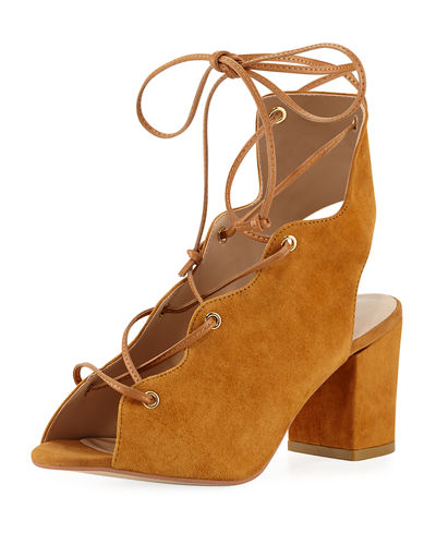 Neiman Marcus Connie Suede Lace-Up Sandal