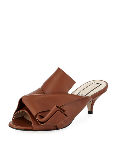 No. 21 Pleated Leather Low-Heel Slide Sandals