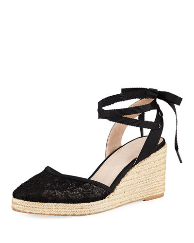 Adrianna Papell Penny Lace Ankle Espadrille Beige