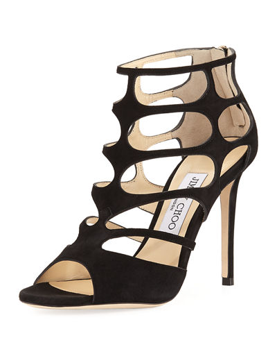 Jimmy Choo Ren Suede Caged 100mm Sandals