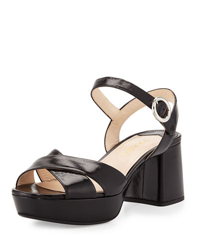 Prada Leather Crisscross Ankle-Wrap 65mm Sandals