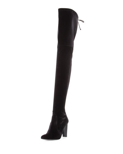 Outlet Enjoy Free Shipping For Sale Stuart Weitzman Velvet Over-The-Knee Boots Cheap Cost mmGS9H