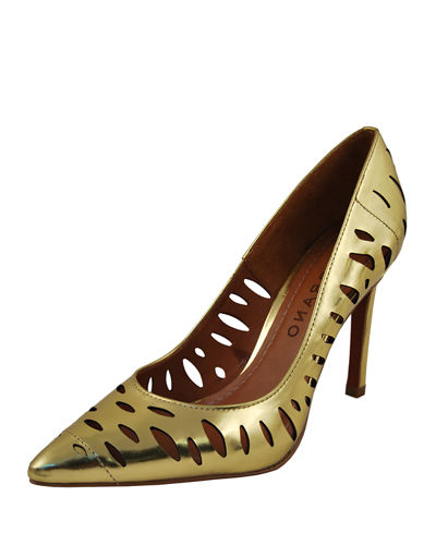 Laser-Cut Metallic Leather Pump