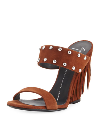 Studded Suede Wedge Sandal