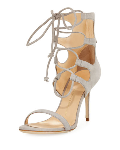 Suede Lace-Up Tall Sandal