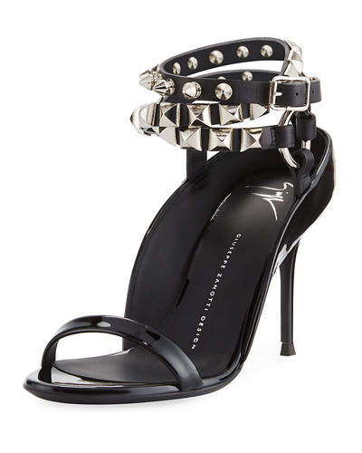 Spiked Leather Strappy Sandal