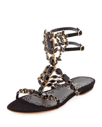 Emily Jeweled Flat Sandal