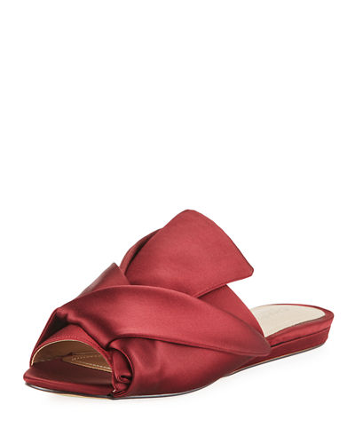 Mya Knotted Satin Slide Mule