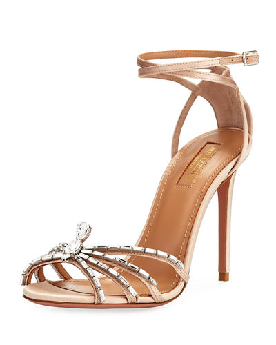 Crystal Spider Ankle-Wrap Sandals