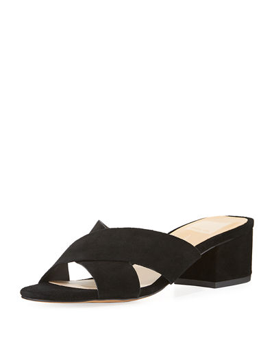 Farrah Cross-Band Suede Slide Sandal