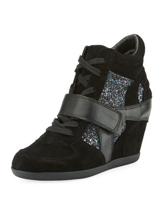 Bowie Wedge Sneakers With Glitter Trim in Black/Blue