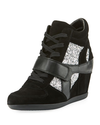 Bowie Wedge Sneakers With Glitter Trim, Black/Silver