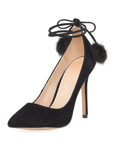Punky Suede Pompom High Pump
