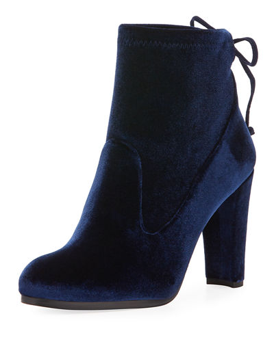 Catch Velvet Bootie with Ankle Tie
